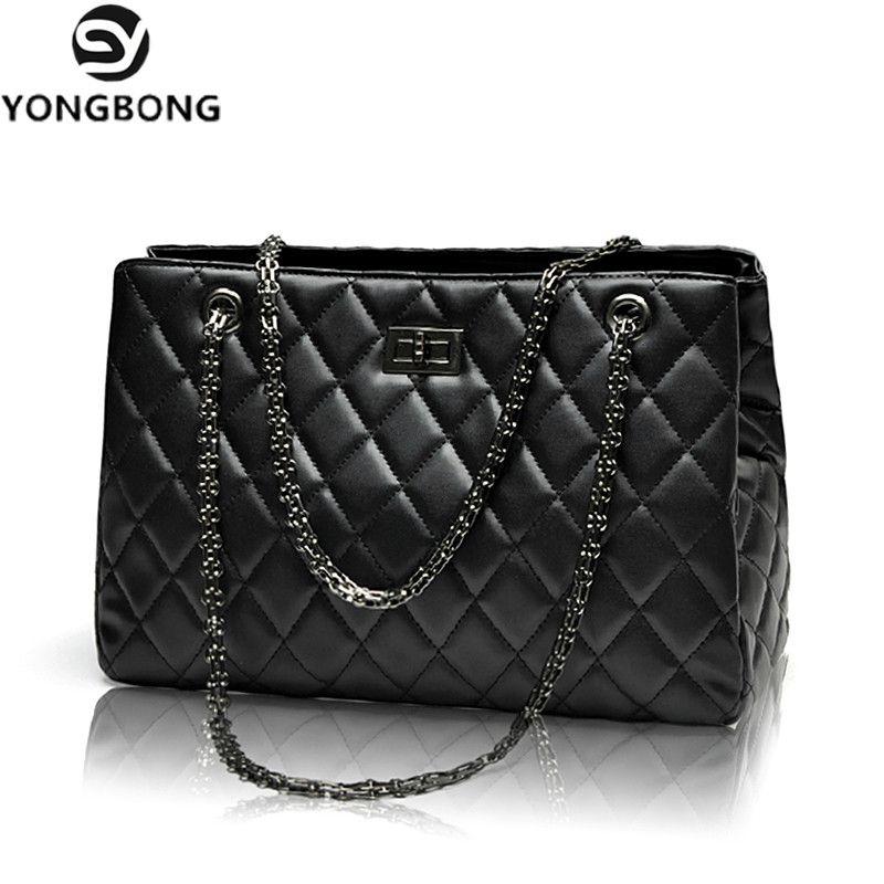 YONGBONG Fashion Woman Big Embroidery Bags Ladies Luxury Handbag Women Plaid Chain Shoulder Bag Large Quilted Bolsas Femininas