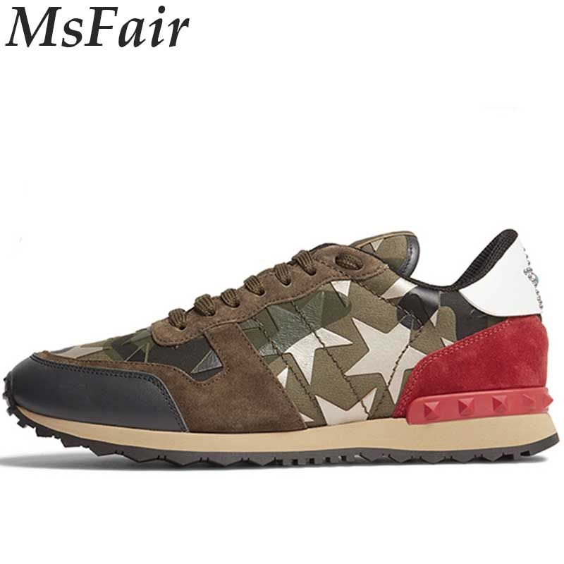 MSFAIR 2018 New Men Running Shoes Outdoor Athletic Brand Men Sneakers Jogging Walking Rivet Womens Sneakers Canvas Large Size