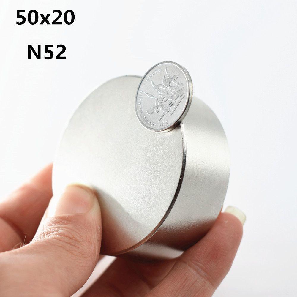 1 pièces N52 aimant néodyme 50x20mm disque rond super fort terres rares puissants aimants en métal gallium compteurs d'eau haut-parleur 50*20