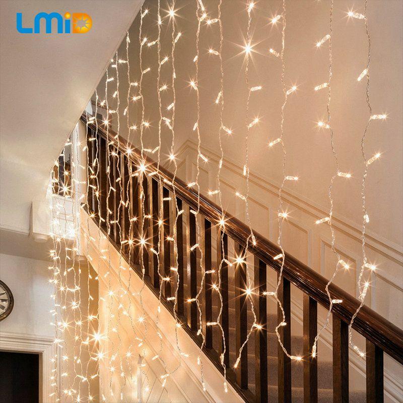 LMID 2 M x 0.6 M Casa Al Aire Libre de Vacaciones de Navidad Decoración de navidad de Hadas Cadena Boda Cortina Guirnaldas de Luz LED Tira Luz del partido