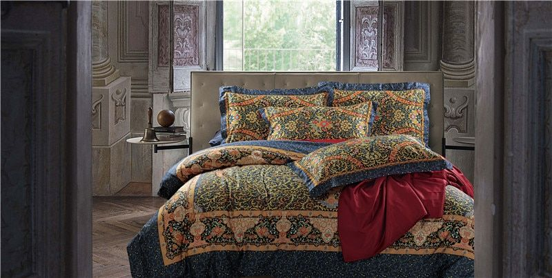 Luxury Egyptian cotton print bed linen blue red pink silver gold satin bedding set/bedspread queen king size duvet cover sheet