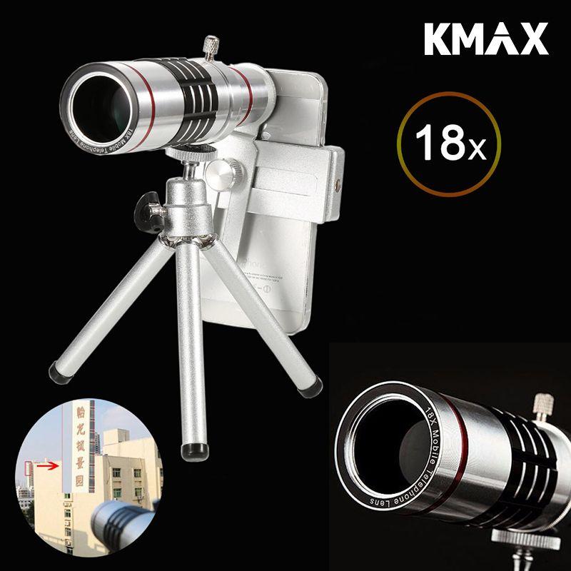 KMAX Universel 18X Zoom Optique Télescope Avec Mini Trépied Pour Samsung iPhone Xiaomi Redmi Note Meizu Mobile Téléphone Lentilles