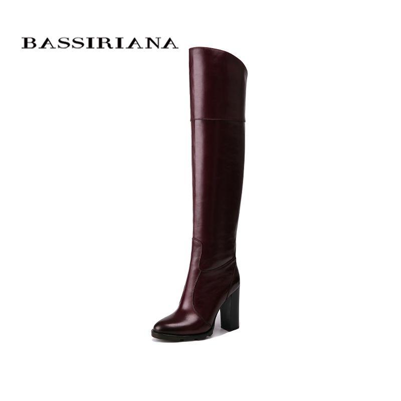 BASSIRIANA Über-die-knie Echtes leder high heels stiefel frauen winter schuhe frau Schwarz wein rot Zip größe 35-40