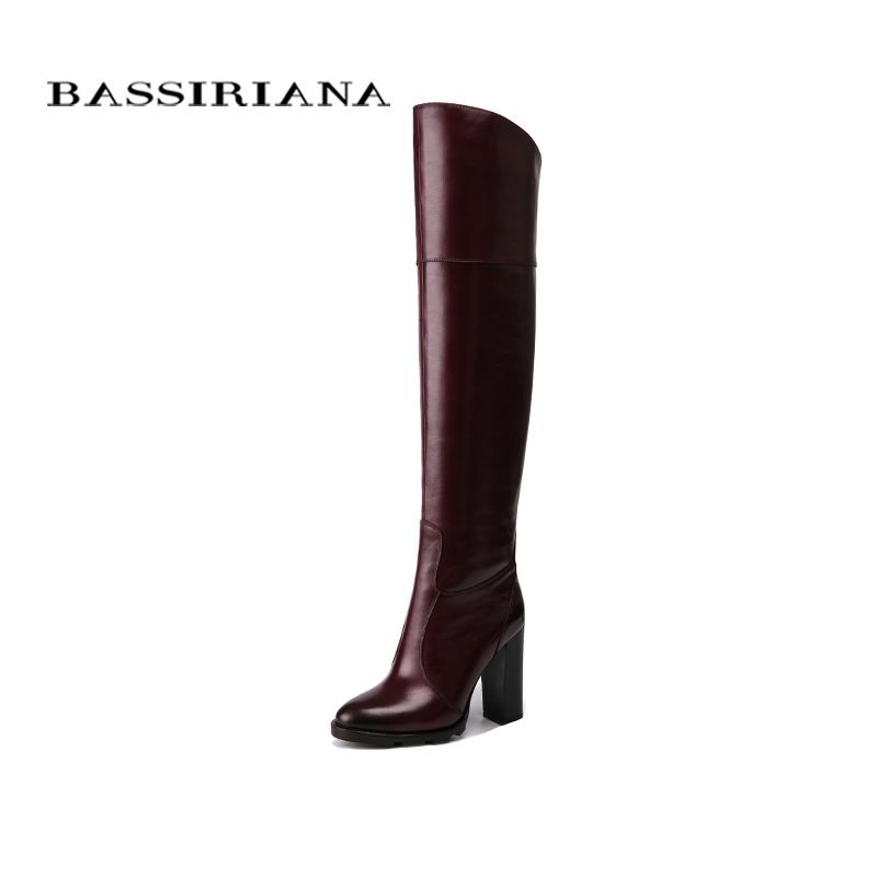 BASSIRIANA Over-the-knee Genuine leather high heels boots women winter shoes woman Black wine red Zip size 35-40
