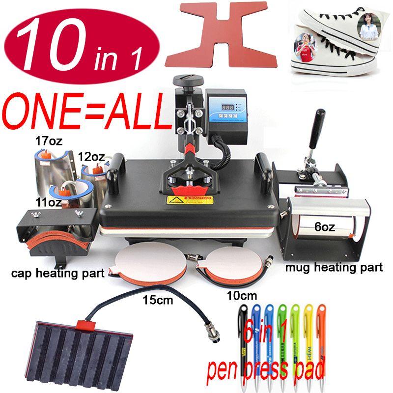 10 In 1 Wärme schuh Presse Maschine, sublimation Drucker/stift Transfer Maschine Für Becher/Cap/t-shirt/schuh/flasche/ stift