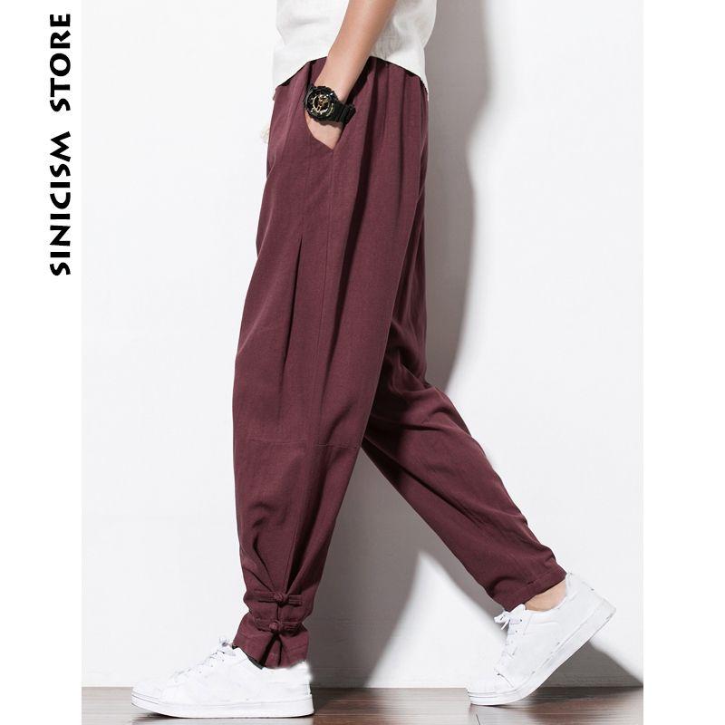 Sinicism Store Plus Size Mens Cotton Linen Harem Pants Mens Jogger Pants 2018 Male Casual Summer Track Pants Straight Trousers