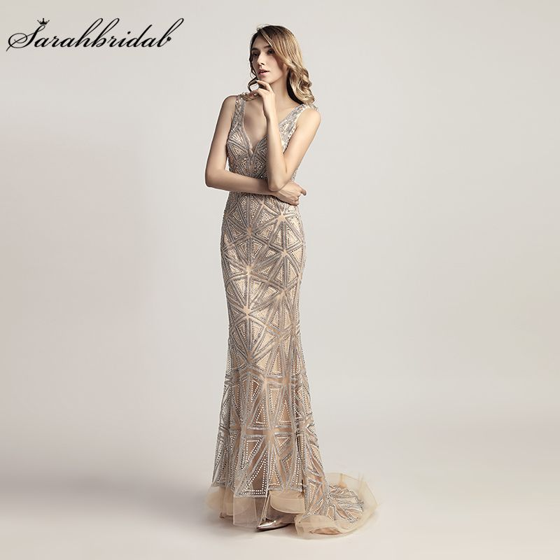 Latest Luxury Styles Elegant Formal Long Mermaid Evening Dresses Vestido De Festa 2018 Crystal Party Gowns Robe De Soiree LSX423