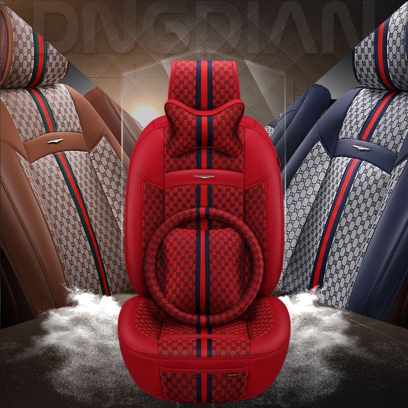 2019 neue 6D Auto Sitz Abdeckung, Senior Flachs Leder,, Sport Auto Styling, Auto-Styling, universal Sitz CushionFor Limousine SUV