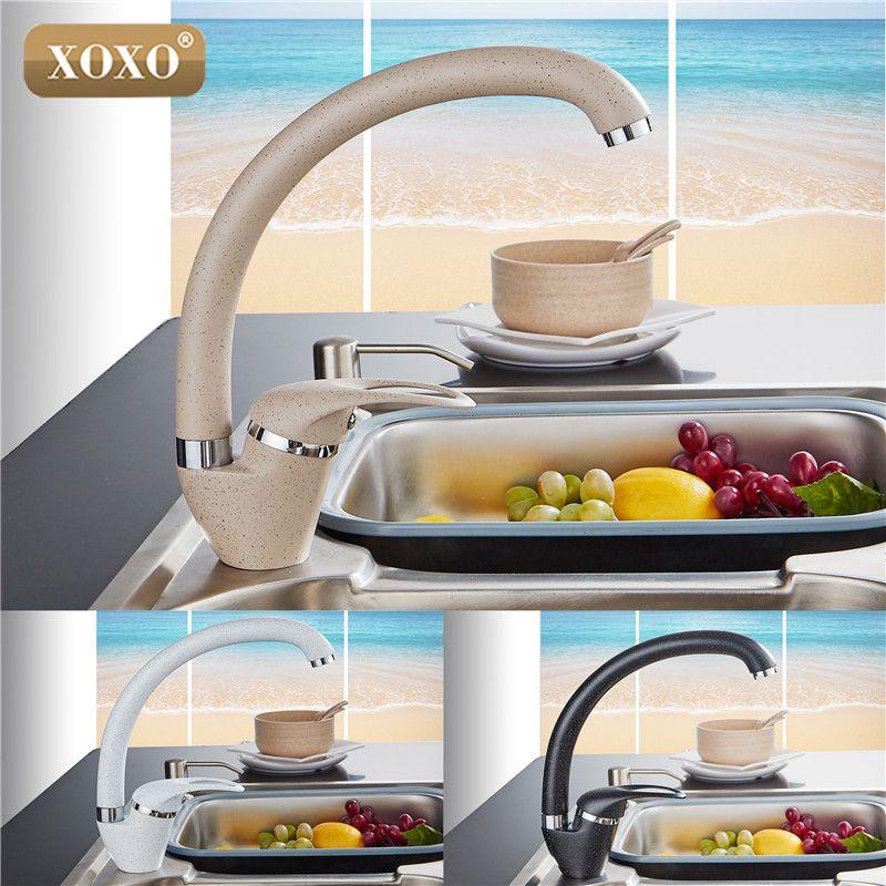 XOXO Style Moderne Maison multicolore Cuivre Robinet de Cuisine D'eau Froide et D'eau Chaude Robinet Simple Poignée Noir Blanc Kaki 3309BE