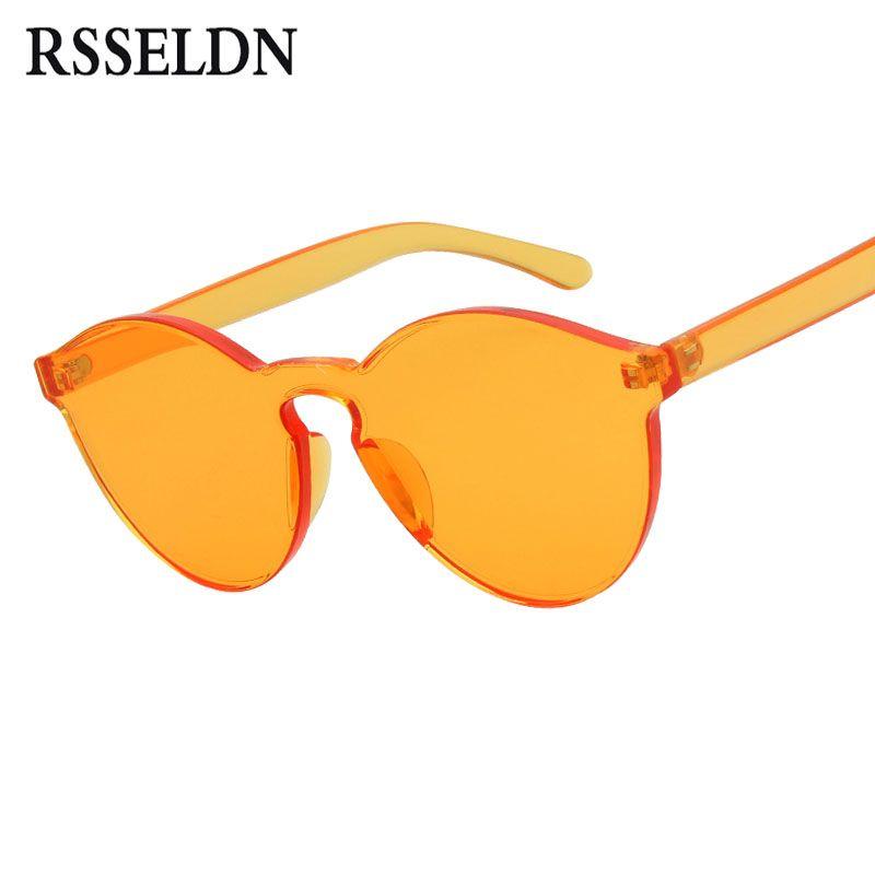 RSSELDN Nouvelle Lentille D'une Seule Pièce lunettes de Soleil Femmes Transparent En Plastique Lunettes Hommes Style Lunettes de Soleil Clair De Couleur de Sucrerie Marque Designer