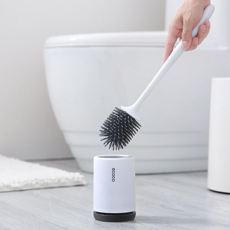 Nouveau TPR brosse de toilette Simple sol-debout Base murale brosse de nettoyage accessoires de salle de bain ensemble de ménage