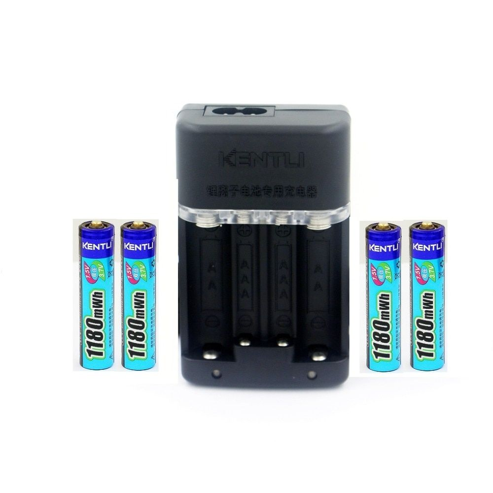 KENTLI 4 pcs AAA battery1.5v 1180mWh AAA rechargeable li-ion polymère au lithium batterie + Chargeur Rapide Intelligent