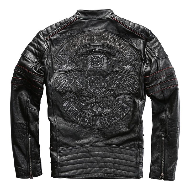 2018 Black Men Skull Embroidery Biker Leather Jacket Plus Size XXXXL Genuine Thick Cowhide Russian Leather Coat FREE SHIPPING