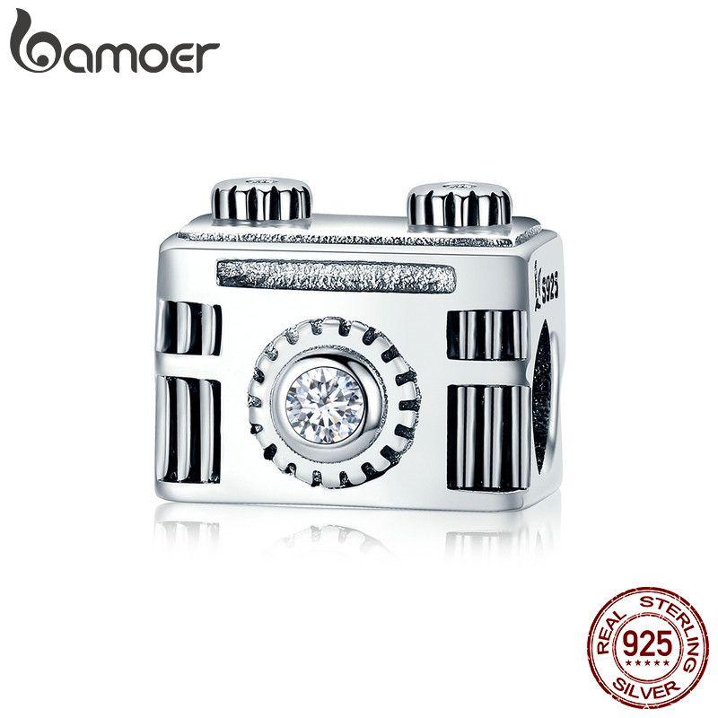 BAMOER Original 925 Sterling Silber Sentimental Snapshots Kamera Charme Fit Armband & Halskette Schwarz Emaille DIY Schmuck SCC516