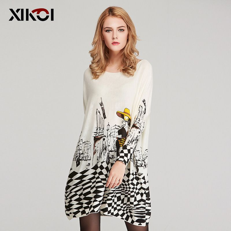 XIKOI Autumn Long Women Sweater Casual Coat Batwing Sleeve Print Women's Sweaters Clothes Pullovers Fashion Pullover Clothing
