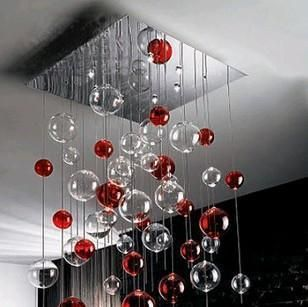 50cm Modern Glass Red Bubble Crystal Ceiling Light Lamp Lighting Fixture ceiling-mounted luminaire ZL329