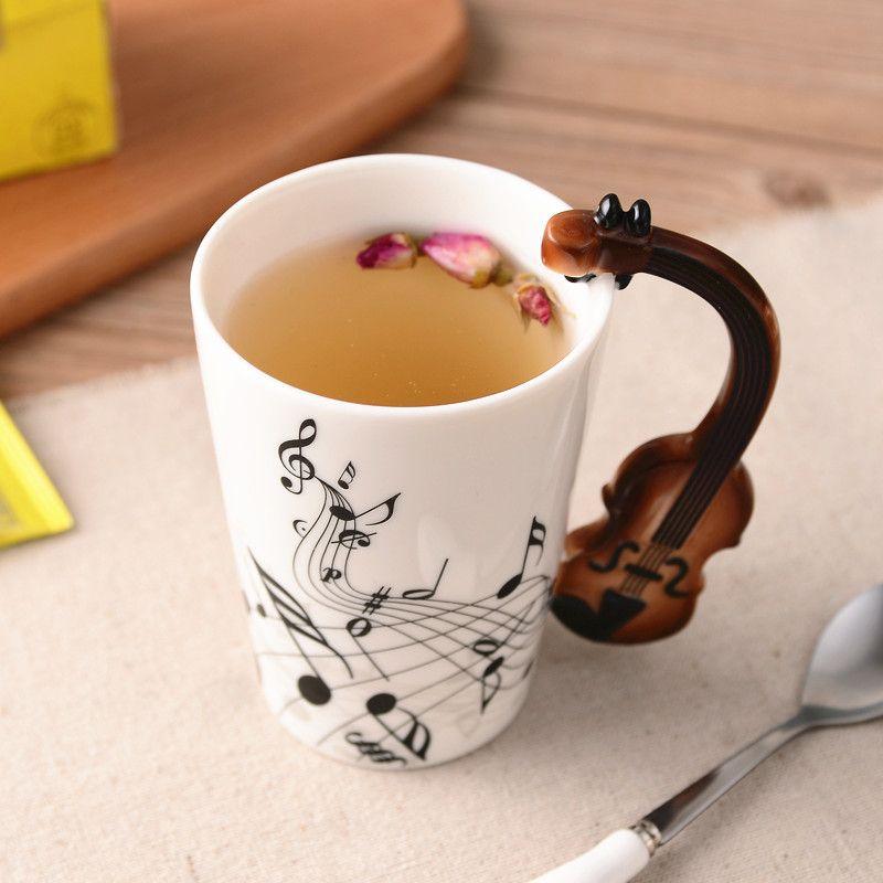 Musique créative violon Style guitare tasse en céramique café thé lait Stave tasses avec poignée tasse à café nouveauté cadeaux