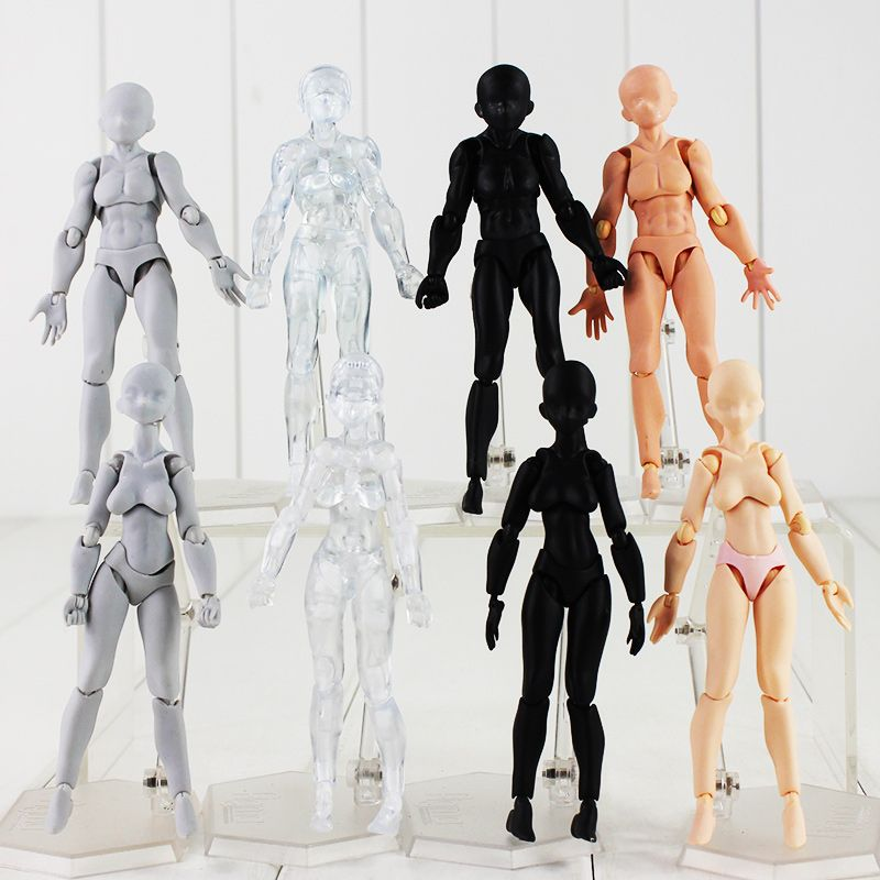 8 Styles 5'' Figma Body Action Figure Archetype He She Body Kun Body Chan Grey Black Skin Clear Male Female Model Dolls