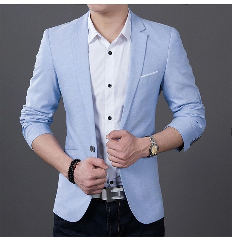2019 Mode Hommes décontracté 1 vestes en coton Mâle Slim Fit formelle Ciel Bleu Noir Blazer Costume grande taille 5XL Mode Hommes Blazer sping