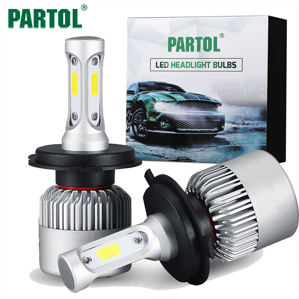 Partol S2 H4 H7 H13 H11 H1 9005 9006 H3 9004 9007 9012 COB LED Headlight 72W 8000LM Car LED Headlights Bulb Fog Light <font><b>6500K</b></font> 12V