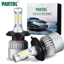 Partol S2 H4 H7 H13 H11 H1 9005 9006 H3 9004 9007 9012 COB LED Phare 72 W 8000LM Voiture LED Phares Ampoule Brouillard Lumière 6500 K 12 V