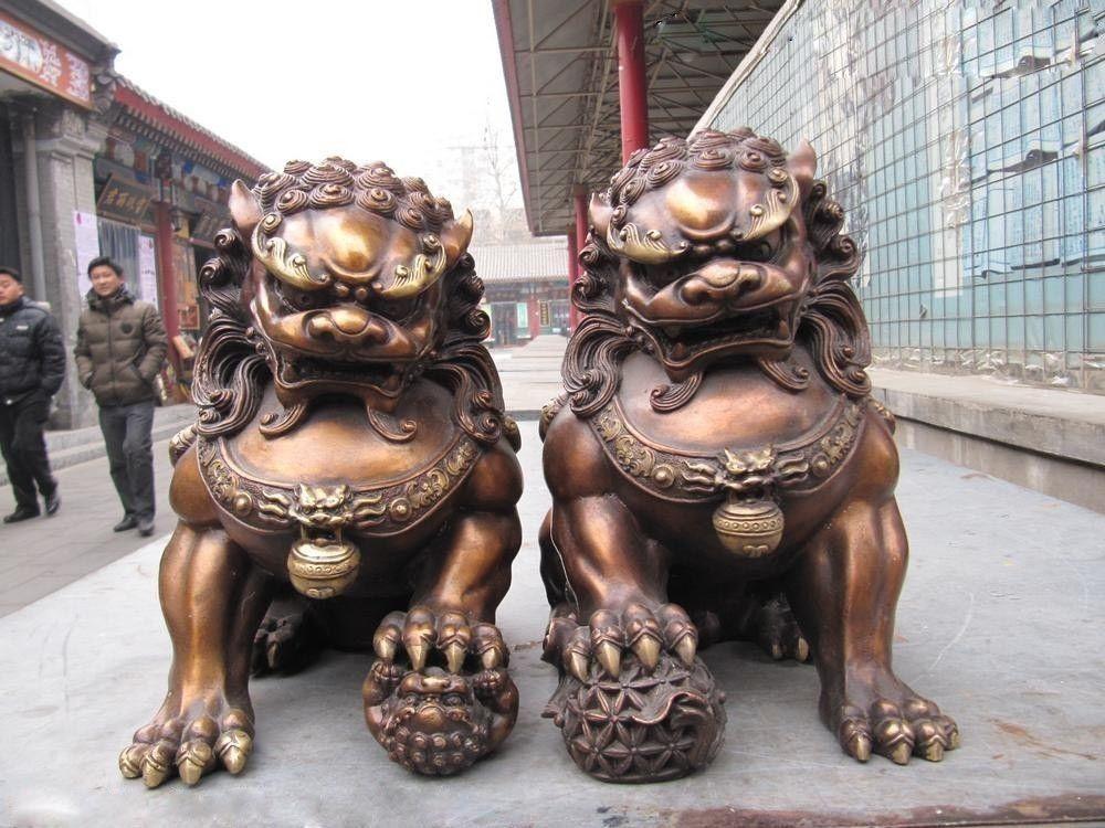 Chinesische klassische Bronze Kupfer Böse Wächter Tür Bei Jing Fu Foo Hund Lion Paar Dekoration Handwerk Statuen & Skulpturen