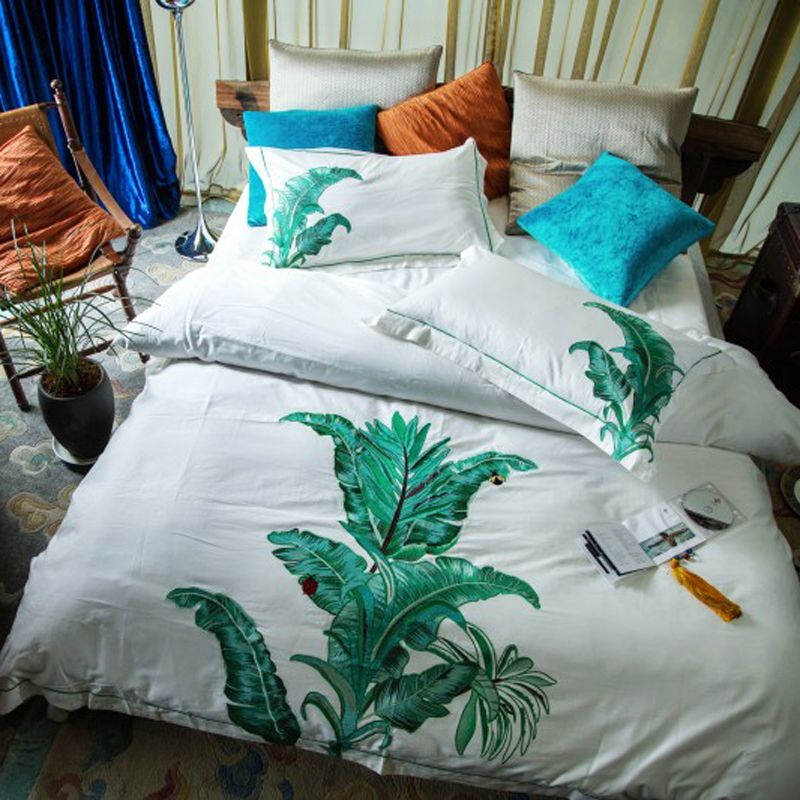 Svetanya Plantain Embroidered Luxury Bedding Sets Queen King Size Bedclothes 100% Cotton Brand Duvet Cover Set
