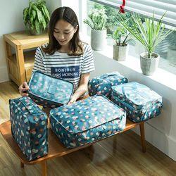 2018 6pcs/set Fashion Men and Women Luggage Travel Bags Packing  Double Zipper Organizer Waterproof PolyesterCubes Wholesale