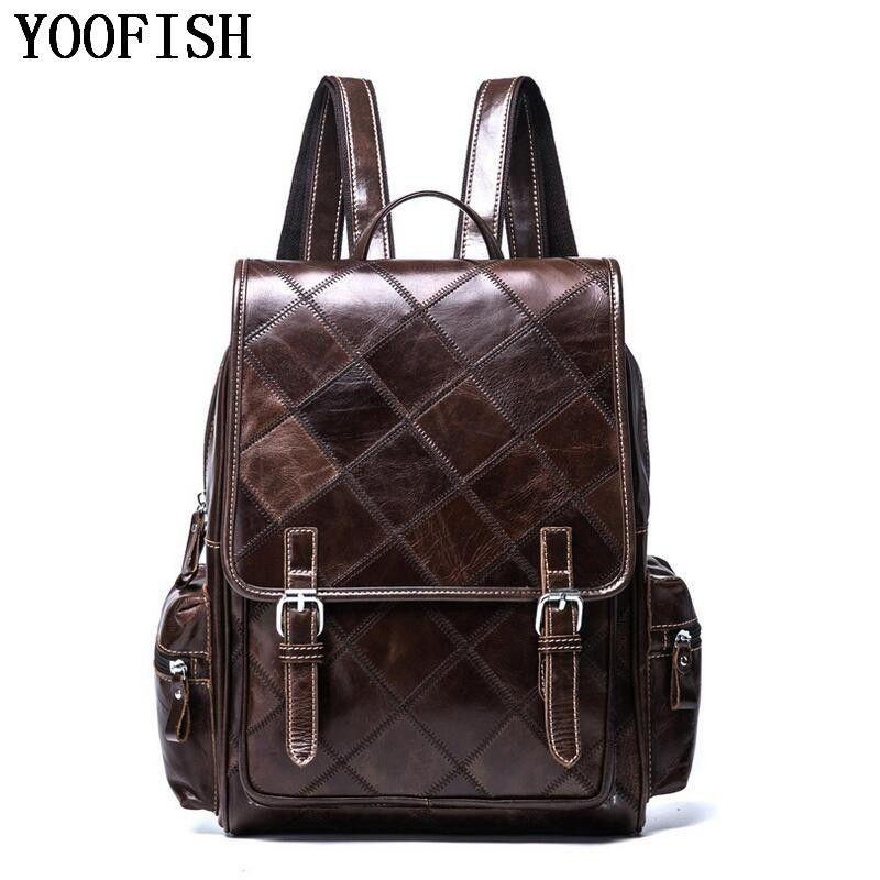 YOOFISH Retro Style Charming Head Layer Cow Leather Teenage Boys's Men 's Laptop Bag Backpacks For Men LJ-920