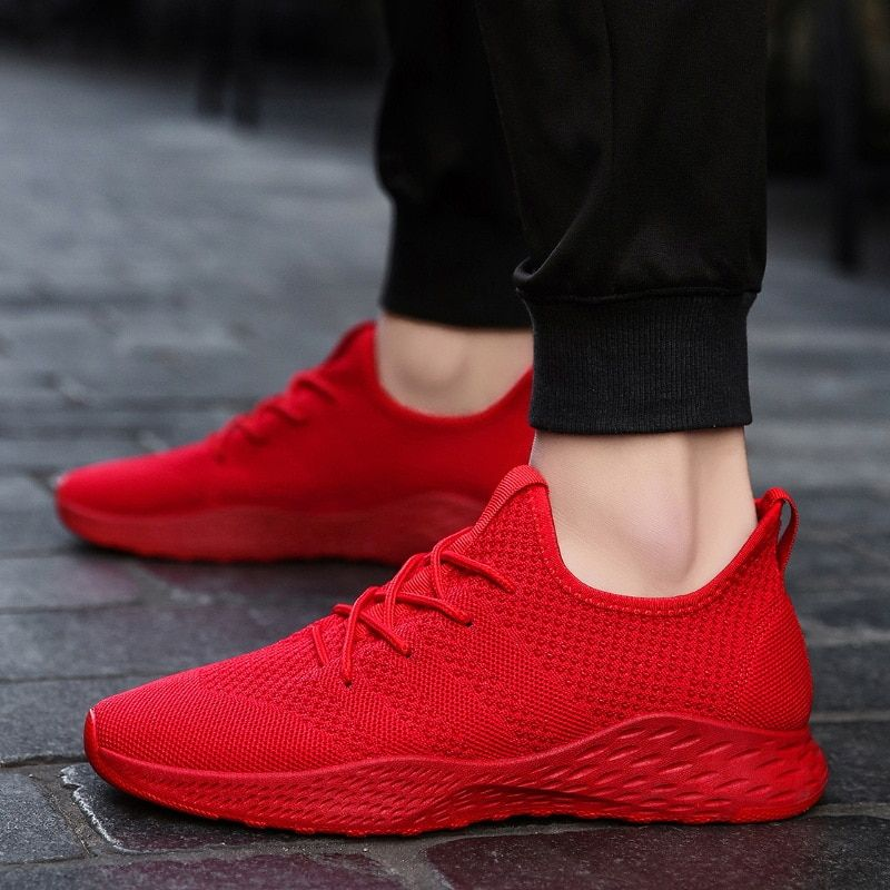 Breathable Men Sneakers Male Shoes Adult Red Black Gray High Quality Comfortable Non-slip Soft Mesh Men Shoes Summer Size 39-46
