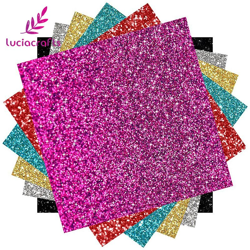 Lucia Crafts 6 Sheets/lot Approx 25*25cm Glitter Heat Transfer Vinyl Heat Press Cut DIY T-shirt Garment Materials 082007282