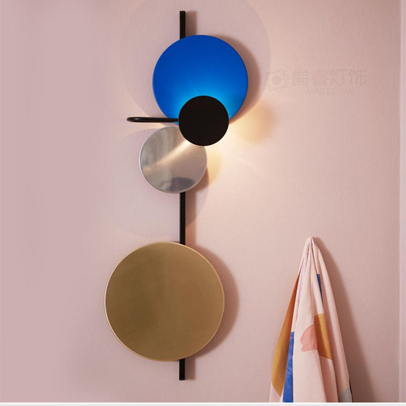Nordic Loft Multicolor Metall Runde Kreis Led Wand Lampe Kunst DIY Stil Planet Led Wand Scones Hotel Nacht Decro Indoor beleuchtung