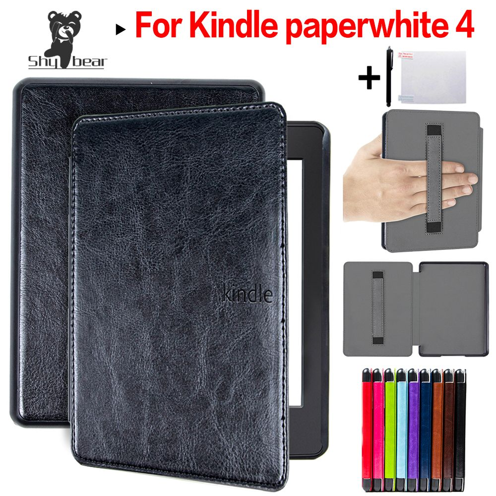Couverture en cuir de luxe pour Amazon kindle Paperwhite 4 étui 2018 PQ94WIF funda kindle paperwhite 4 étui + dragonne cadeau Film + stylo