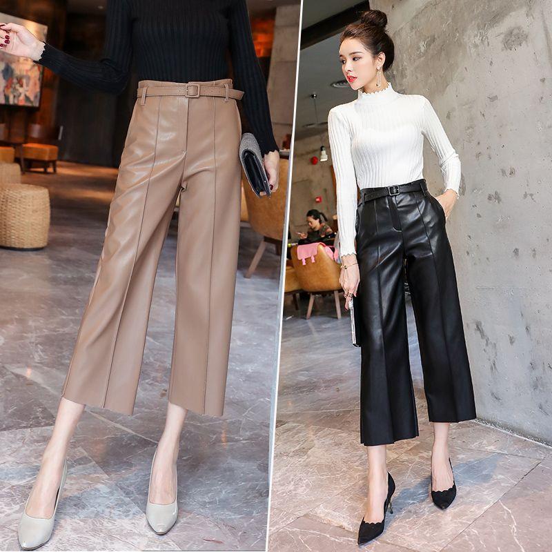 2019 automne tout nouveau femmes PU cuir Pantalon ceinturé taille haute Faux cuir dames Pantalon hiver Pantalon large jambe Pantalon
