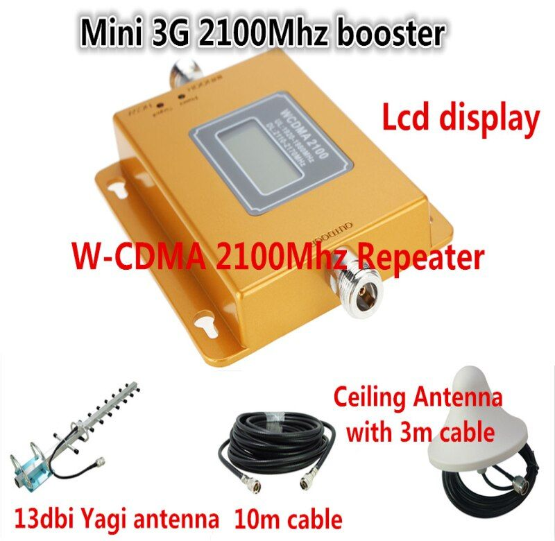 Mini LCD Repeater + Antenna kits ! 3G WCDMA UMTS 2100MHz Cellular Signal Repeater Mobile Phone Signal Booster Amplifier Repeater