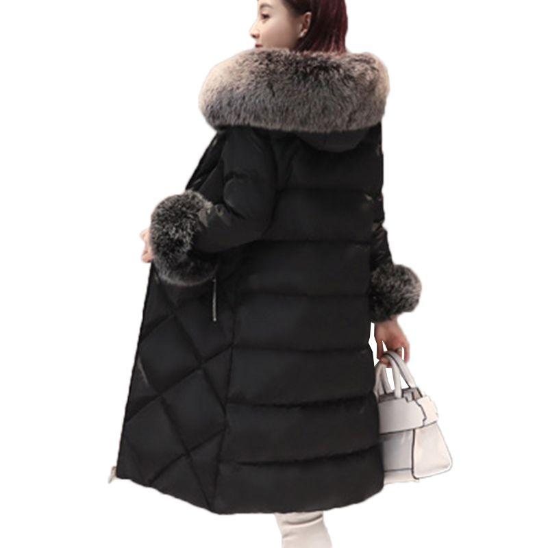 Women 90% Padded White Duck Down Jackets Winter Fashion 2018 New Warm Real Fox Fur collar Plus size Female Long Coat Parkas 457