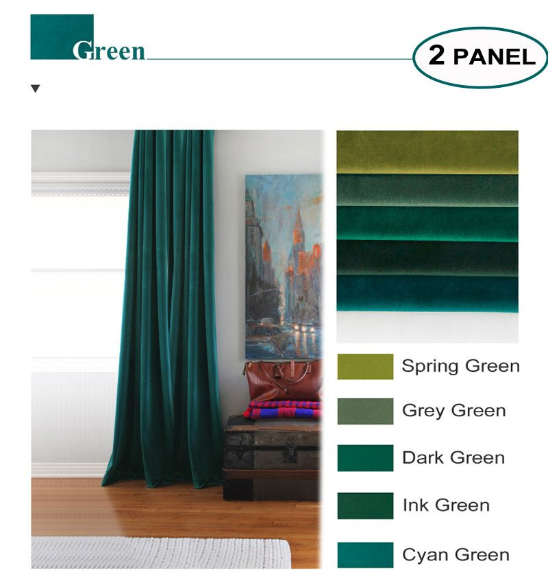 MOMO Room Darkening Matte Velvet Solid Fabric Back Tab Rod Curtains Window Drapes For Bedroom With Custom Size (2 Panels)