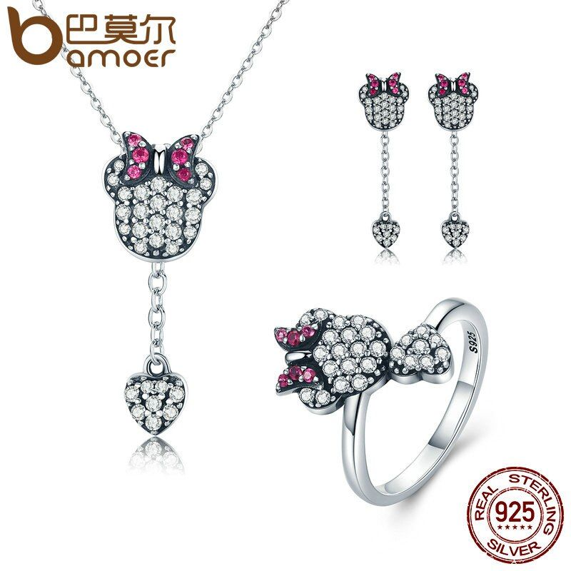 BAMOER 925 Sterling Silver Jewelry Set Sparking CZ Cartoon & Heart Jewelry Sets Wedding Engagement Jewelry Accessories ZHS042