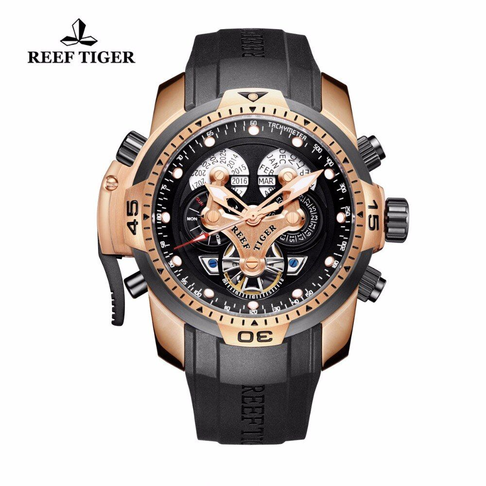 Reef Tiger/RT Mens Sport Watches with Complicated Dial Rose Gold Case Automatic Military Watch with Rubber Strap RGA3503