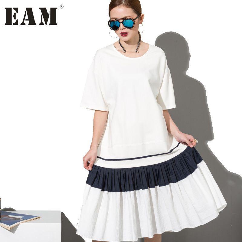 [EAM] 2018 Fashion New Simple Black White Stitching Loose BIG Dress Female Organ Pleated Hem Wholesale Woman W0070