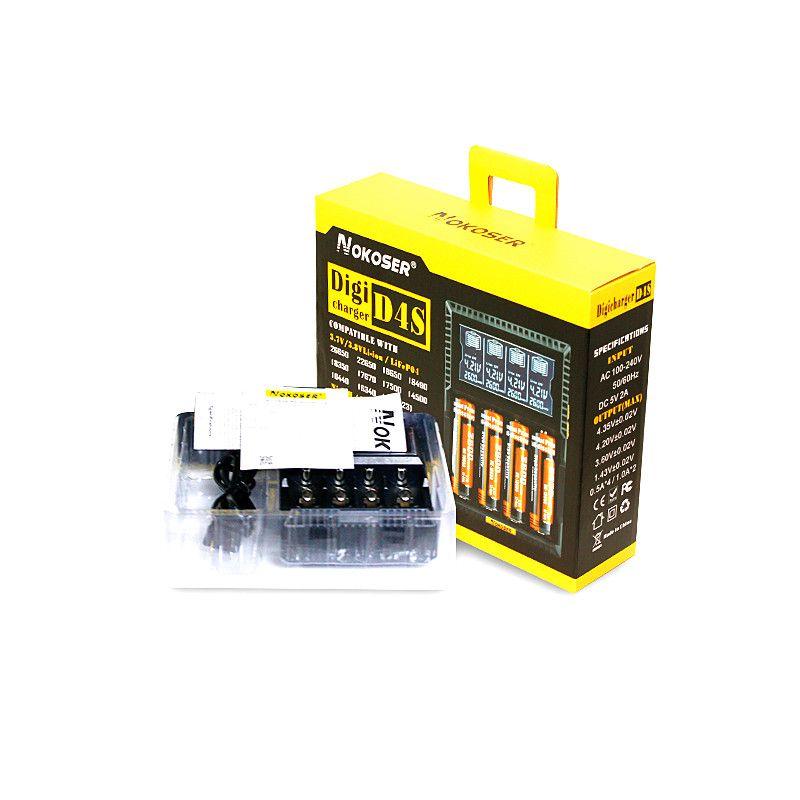 100% Original NOKOSER D4 Digicharger LCD Intelligent Circuitry Global Insurance Li-ion 18650 14500 16340 26650 Battery Charger