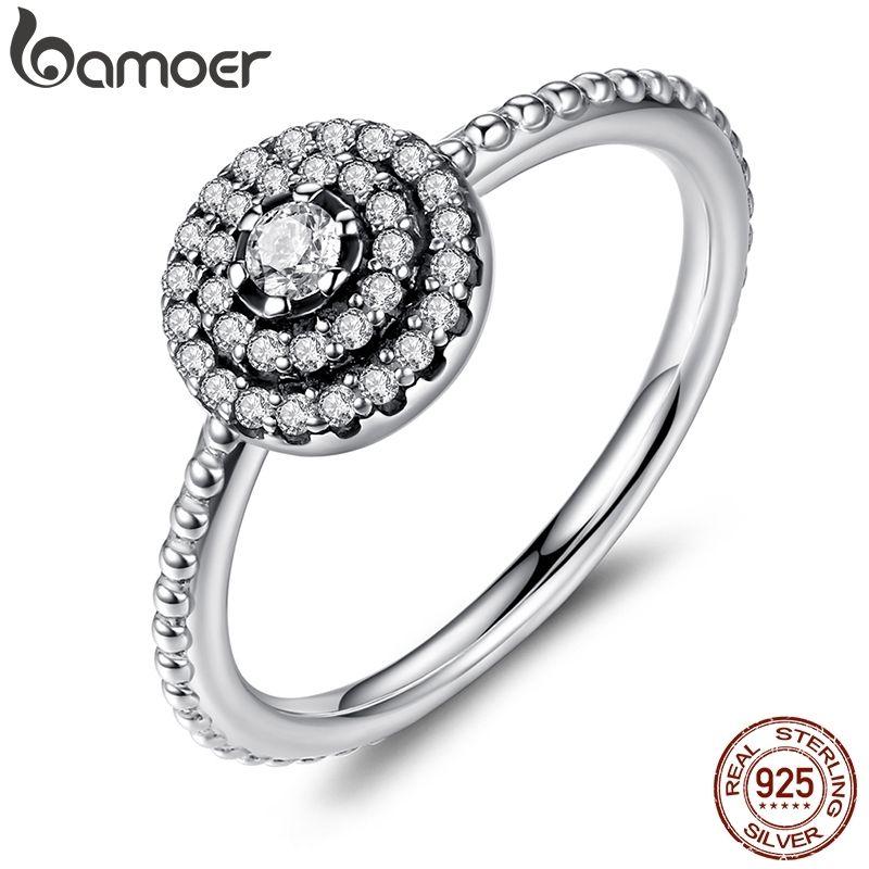 BAMOER 925 argent Sterling forme ronde rayonnante élégance, clair CZ fleur bagues pour les femmes vente d'anniversaire 2019 PA7178