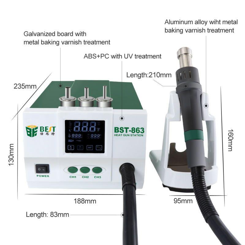BST 863 lead-free Thermostatic Heat Gun Hot Air Rework station 1200W Intelligent digital display rework station for phone Repair