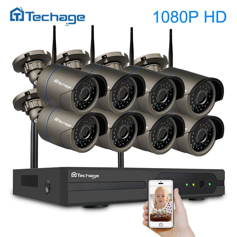 Techage 8CH 1080P HDMI Wireless NVR Kit 2MP 1080P Indoor Outdoor Wifi Security Camera P2P Video Surveillance System Set