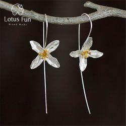 Lotus Plaisir Réel 925 Sterling Argent Naturel À La Main Fine Jewelry Vintage Poétique De Mode De Trèfle Boucles D'oreilles pour les Femmes Brincos