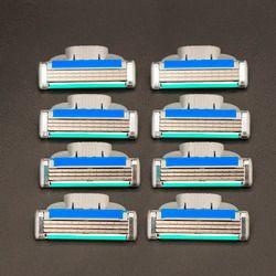 4 шт./лот бритвы Бритвы лезвия КАЧЕСТВО + + + кассеты для бритья Лезвия для Для мужчин Уход за кожей лица 3-Слои лезвия совместимые для gillettee Mach 3