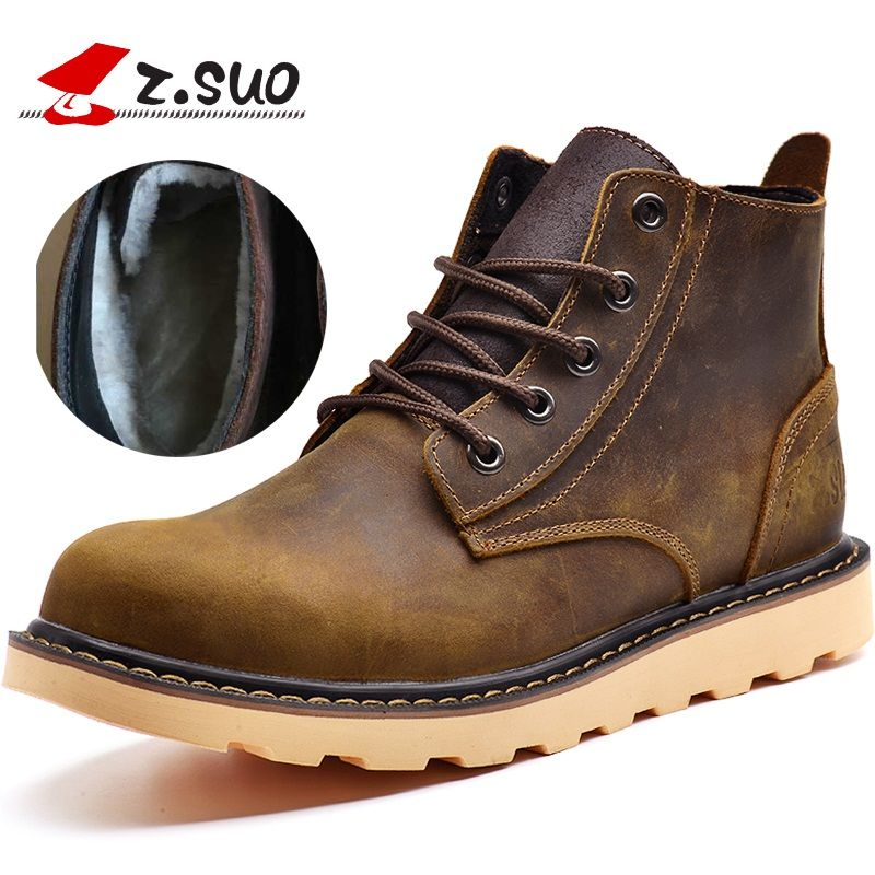 Z. Suo women's boots, leather fashion boots woman, leisure fashion Winter to add fluff warmth women boots ankle bots.zs359NM