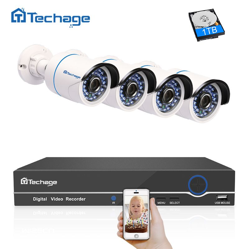Techage 4CH 1080P POE CCTV System NVR Kit IR Night Vision 2MP Indoor Outdoor Security IP Camera P2P Onvif Video Surveillance Set