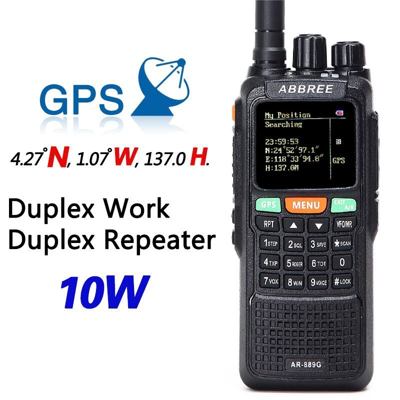 ABBREE AR-889G GPS 10Watts Walkie Talkie SOS 999CH Night Backlight Duplex Repeater Dual Band Dual Receiving Hunting CB Ham Radio