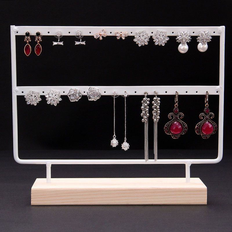 Black or Black Solid Wood and Wrought Iron Earrings Display Stand Earrings Display Frame Jewelry Display Holder